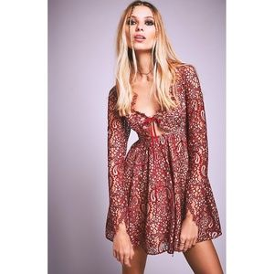 For Love & Lemons Charlie Dress Red Lace Cut-Outs